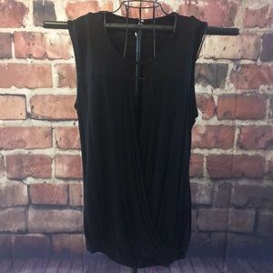 Tops - Black sleeves faux wrap peekaboo blouse XL